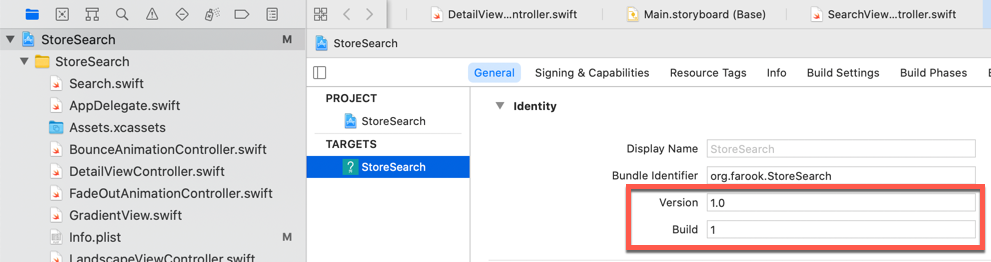 Xcode version and build numbers