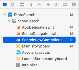 Xcode shows the files that are modified