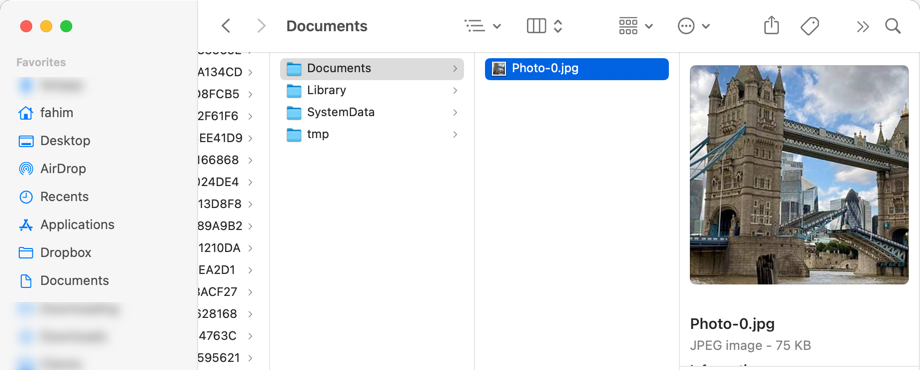 The photo is saved in the app's Documents folder