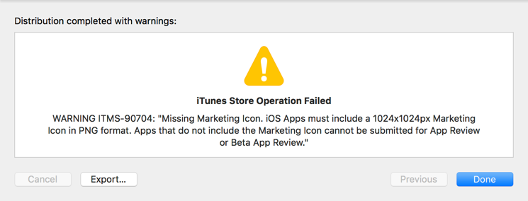 App Store Connect error about specific issue
