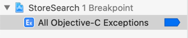After adding the Exception Breakpoint