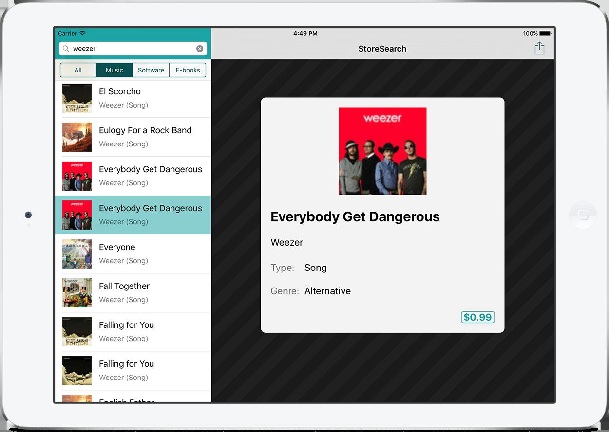 The app on the iPad