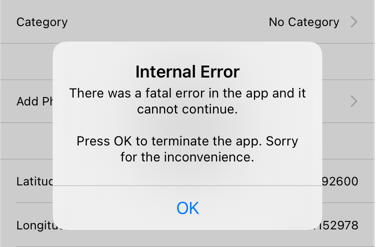 The app crashes with a message