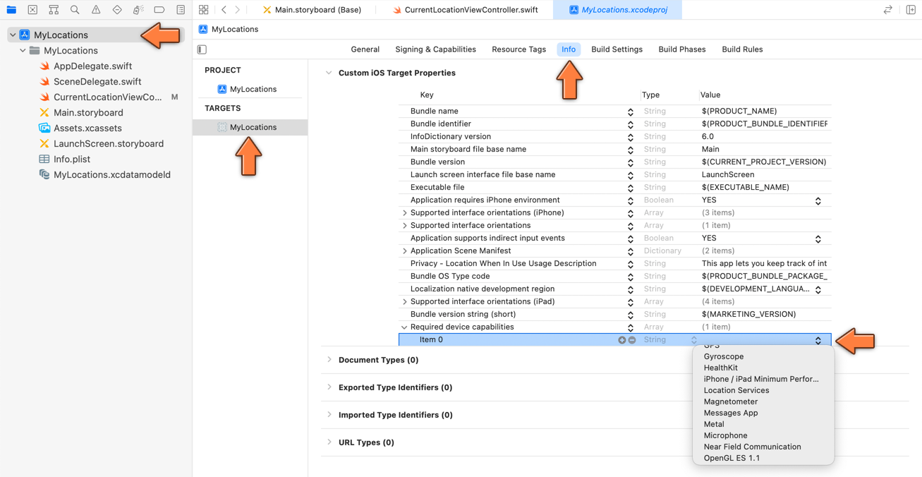 Adding location-services to Info.plist