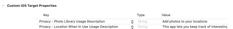 Adding a usage description to Info tab