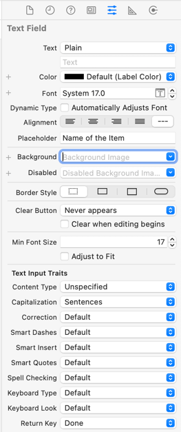 The text field attributes