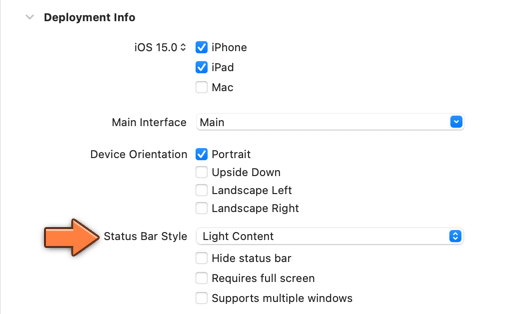 Changing the status bar style for app startup