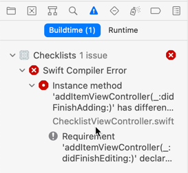 Xcode warns about incomplete implementation