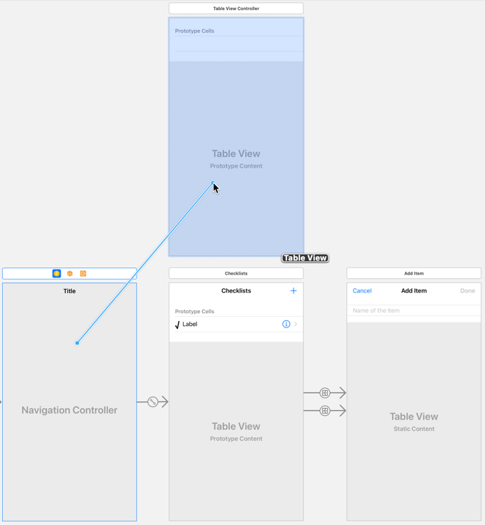 Control-drag from the navigation controller to the new table view controller