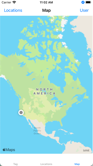 The map shows the user's location