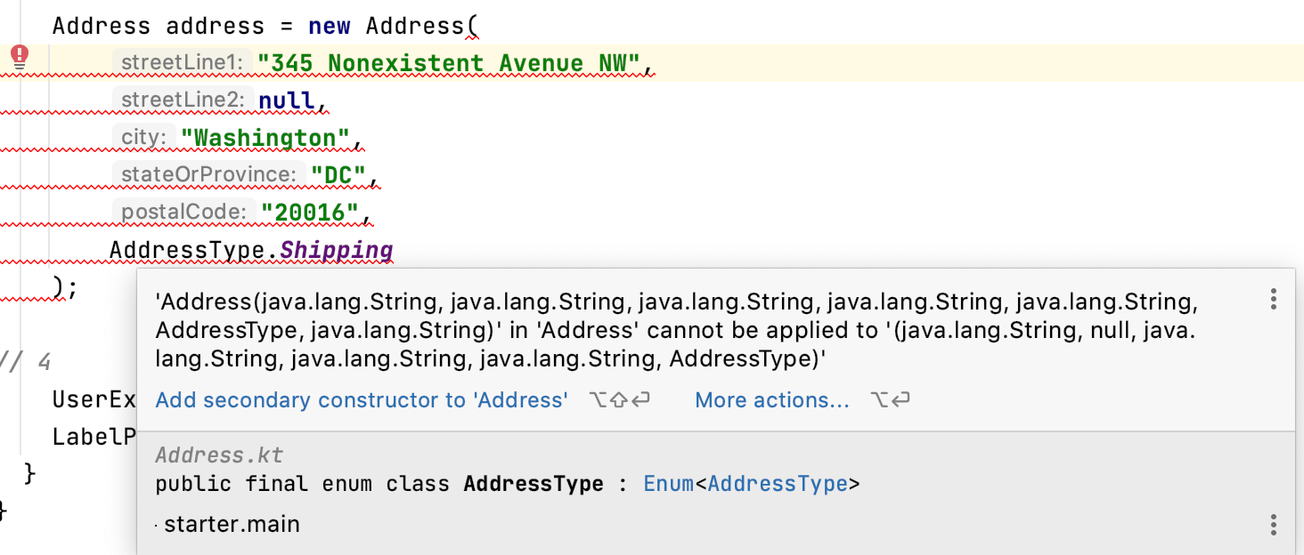 Address constructor cannot be applied to types