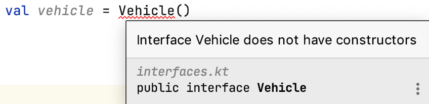 Interface Vehicle does not have constructors