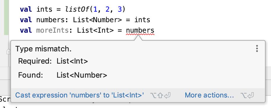 Type mismatch. Required: List<Int>, Found: List<Number>