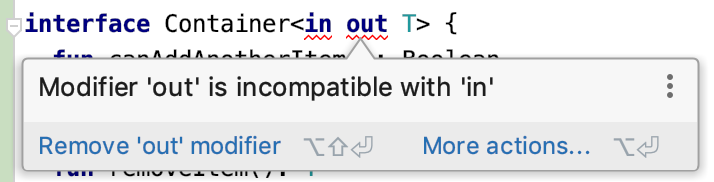 Modifier 'out' is incompatible with 'in'