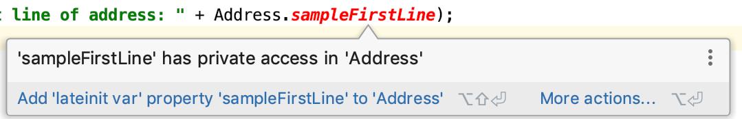 'sampleFirstLine' has private access in 'Address'
