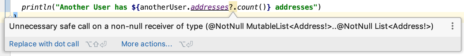 Unnecessary safe call on a non-null receiver