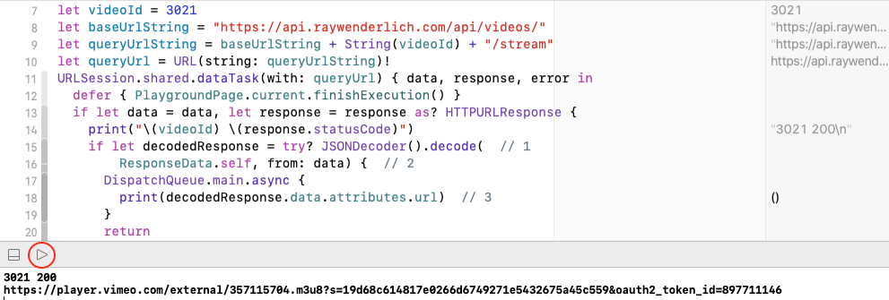 Playground execution stops after decoding URL string.