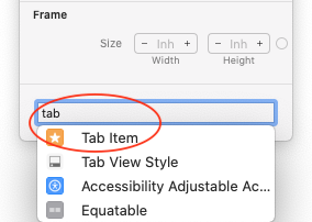 Select the Tab Item modifier.