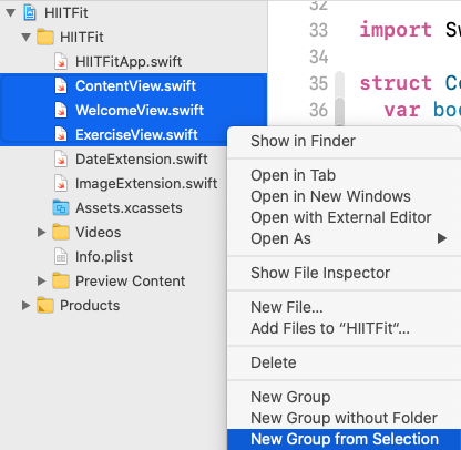 Create a group folder containing the three view files.