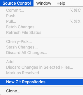 Xcode's Source Control menu