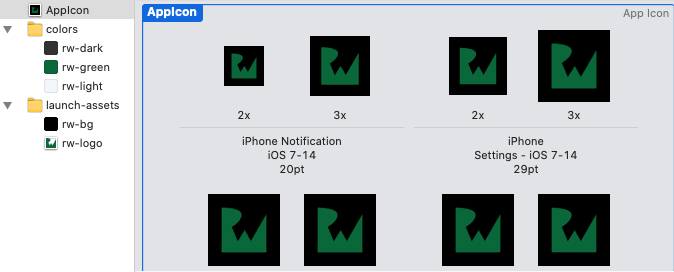 Assets: A small sample of an AppIcon set
