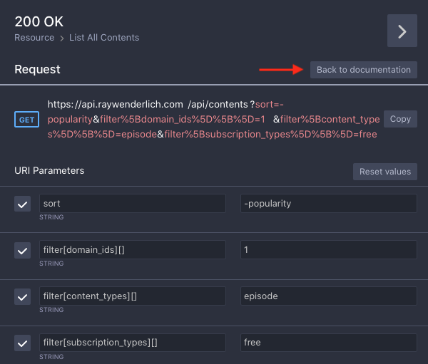 Apiary sidebar: Try console