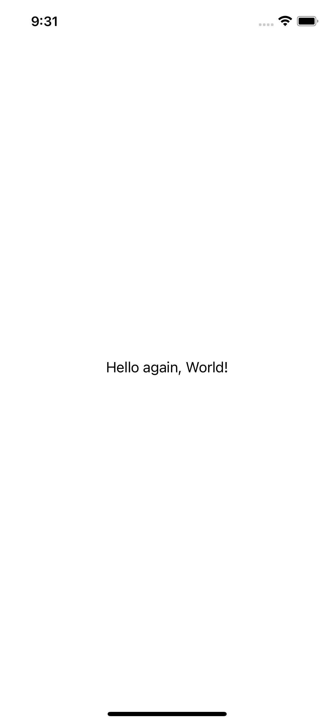 FirstApp running on an iPhone
