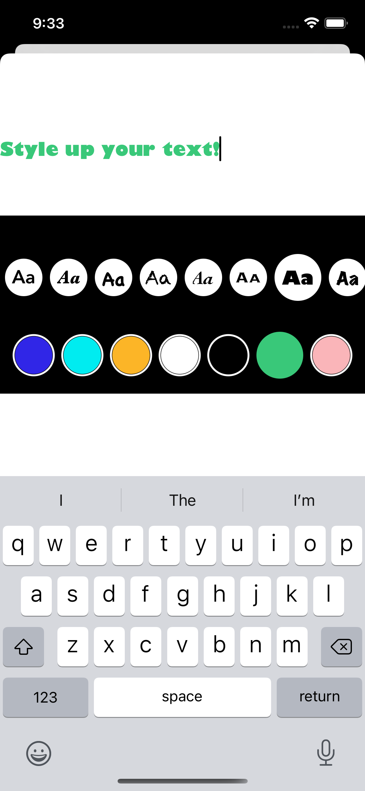 Text entry with fonts and colors