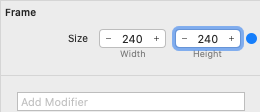 Set Frame Width and Height to 240.