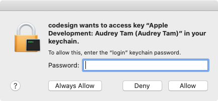 Allow access to the certificate in your keychain.