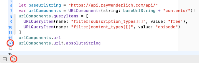 Execute-Playground arrows on the code line and in the bottom bar