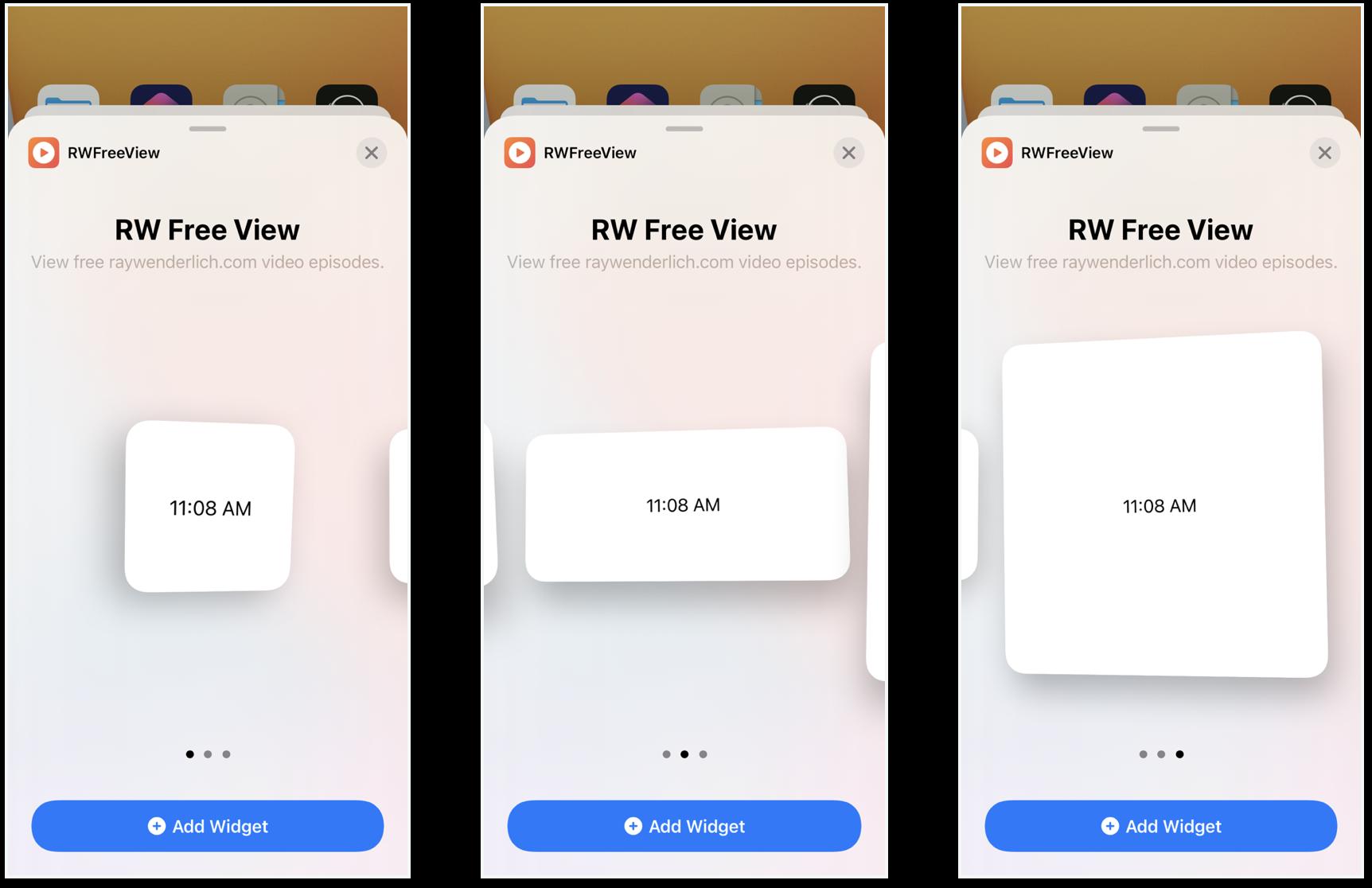 Snapshots of the three widget sizes.