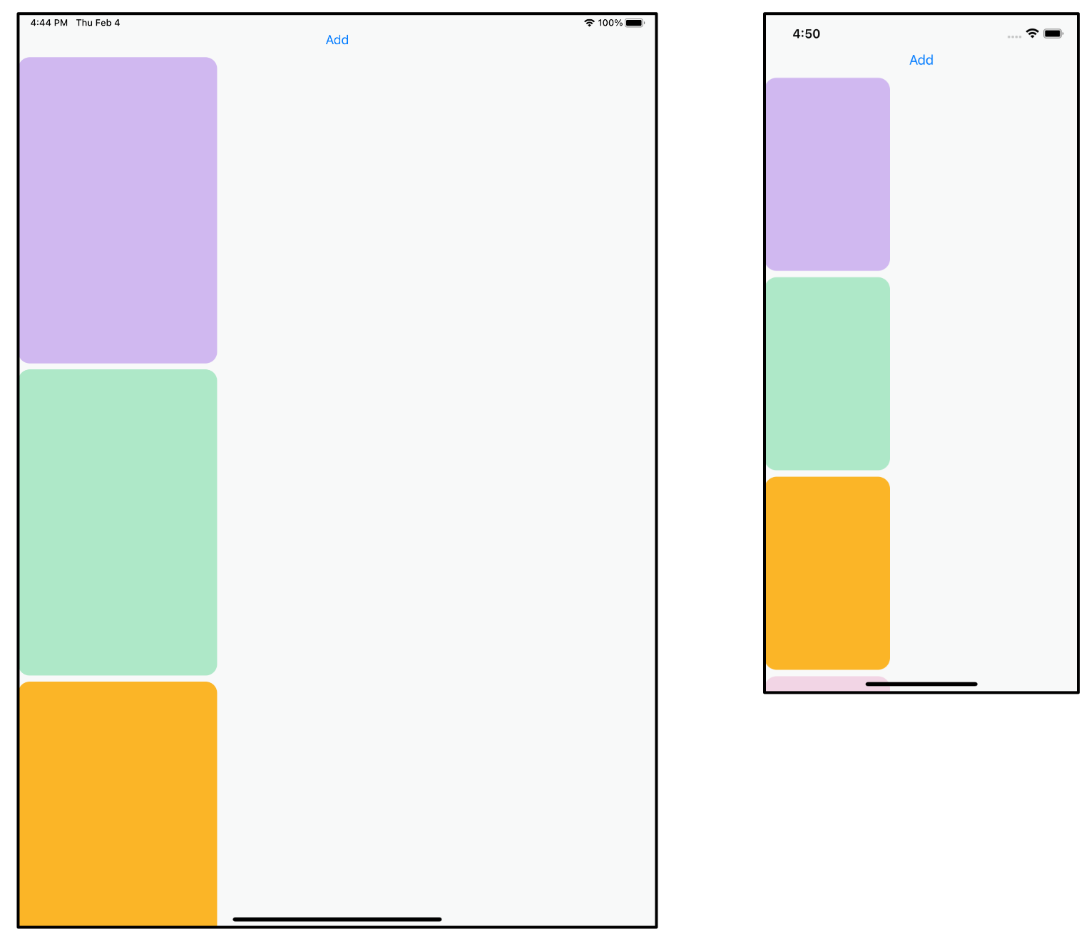Thumbnail sizes on iPad and iPhone