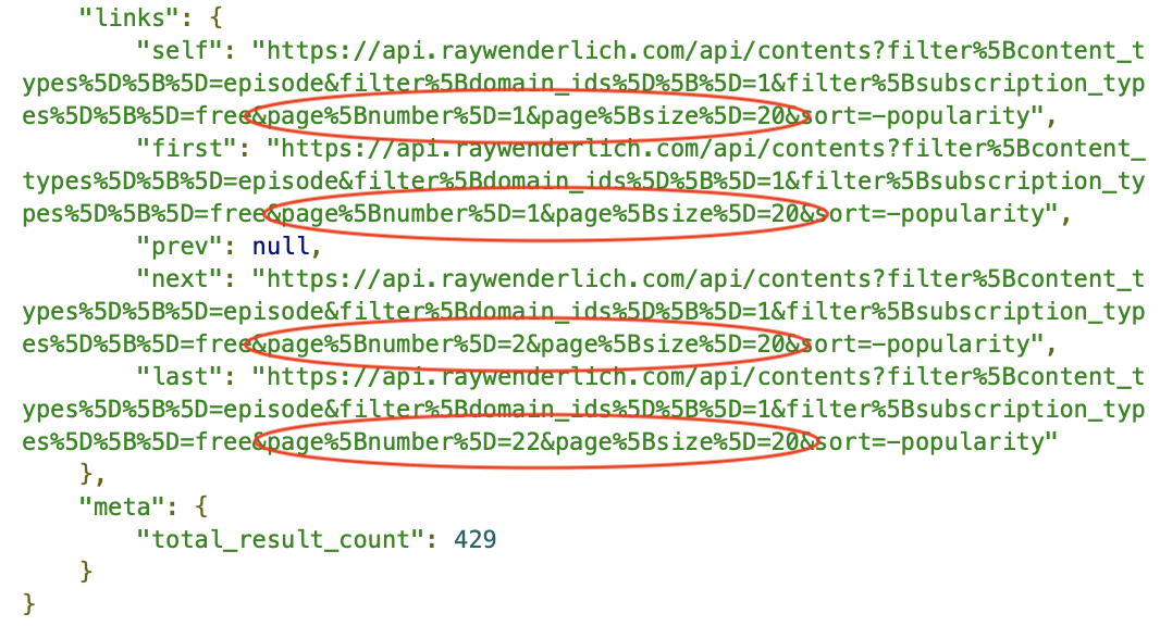 Filter query response: links