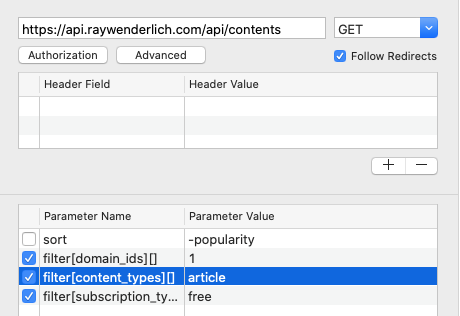 RESTed lets you edit or turn off parameters.
