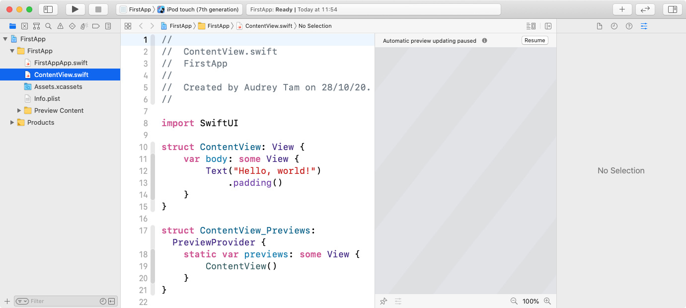 New project appears with ContentView.swift in the editor.