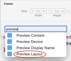 Selecting Preview Layout from the Attributes inspector for Header view