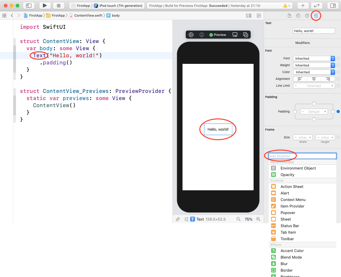 Text attributes inspector and modifiers menu