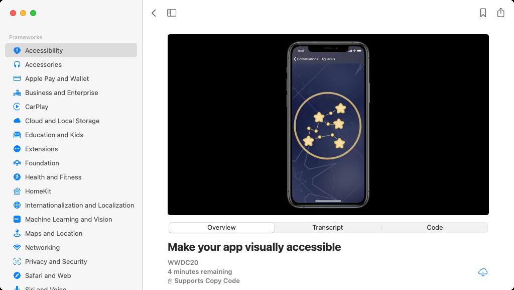 Apple Developer app: Videos classified by framework