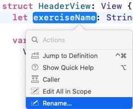 Command-click exerciseName, select Rename.