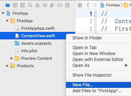 Select New File... from right-click menu.