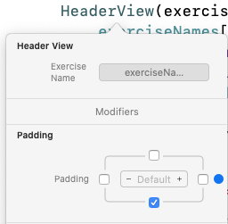 Add padding to Header view in Exercise view.