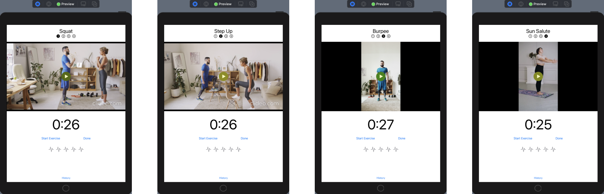 ExerciseView with page numbers