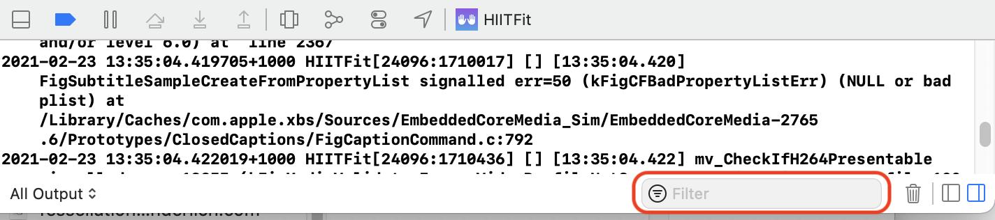 Filter debug console
