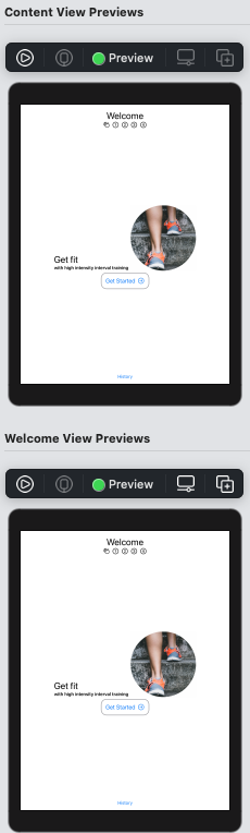 WelcomeView preview with pinned ContentView preview