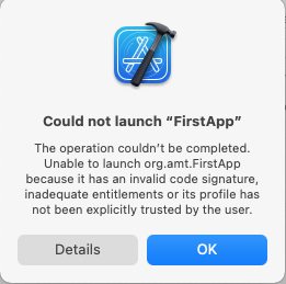 Could not launch FirstApp