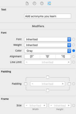 Text view attributes: Many are inherited.