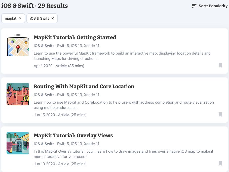 Popular MapKit tutorials