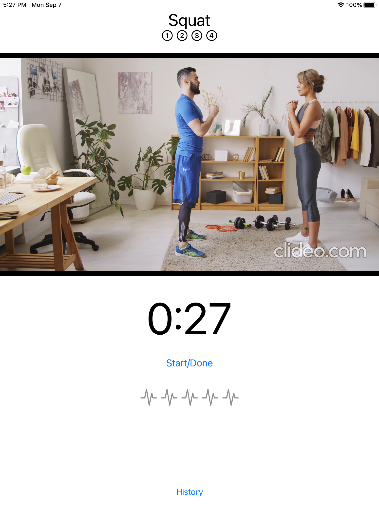 Exercise view with Rating subview