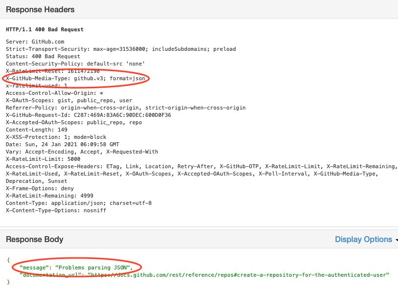 Response: 400 Bad Request. Problems parsing JSON
